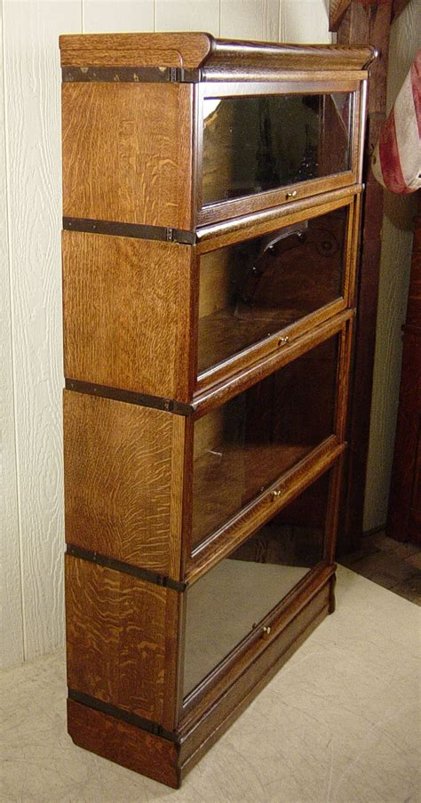 globe wernicke 4 section stacking oak bookcase