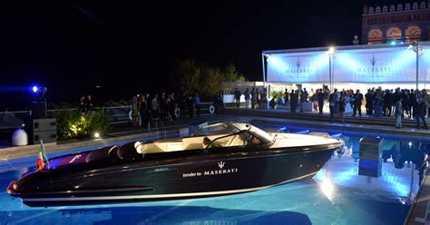 riva iseo superyacht tender on display at the maserati