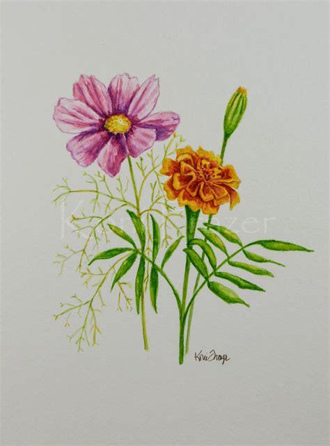 october flower tattoo cosmos and marigold october birthday flower original