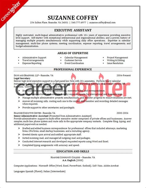 resume template for executive assistant executive assistant resume sle by www riddsnetwork in