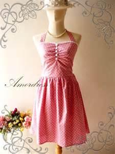 Pink dot party dress vintage inspired polka dot pink dress party