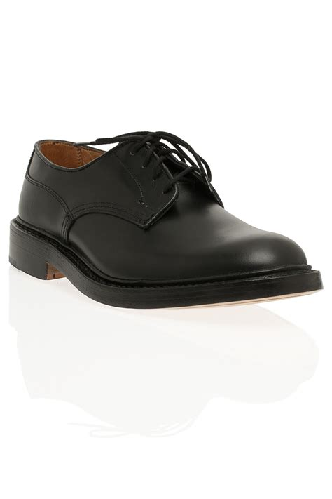 plain black shoes for tricker s plain derby shoes in black for lyst