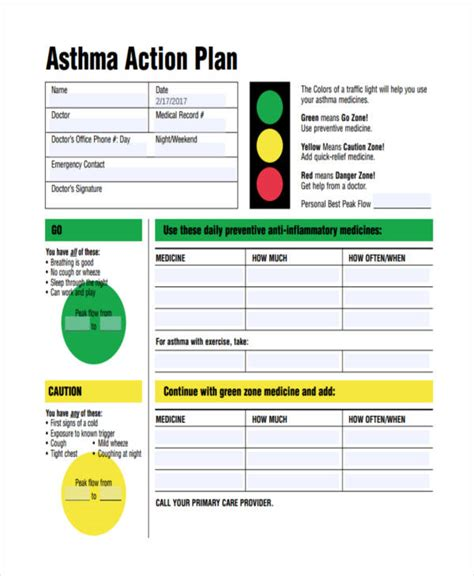 asthma plan template my asthma plan template
