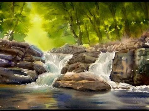 watercolor waterfall tutorial watercolor painting the forest waterfall youtube