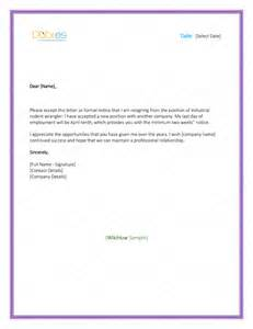 Resignation Letter With 2 Weeks Notice by 5 Resignation Letter Templates To Write A Professional Letter Dotxes