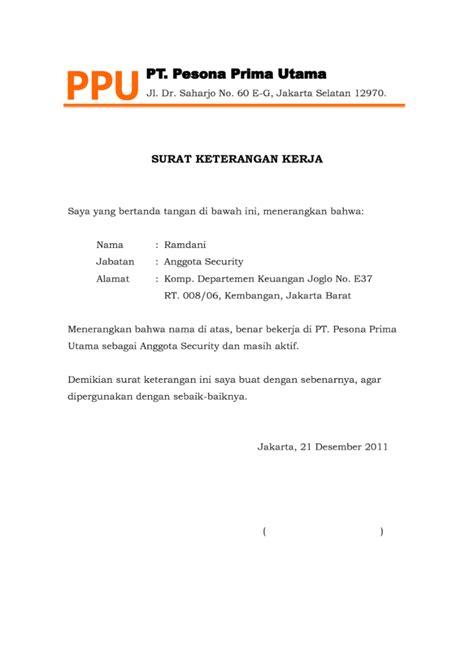 Surat Tugas Kerja Resmi by 4 Contoh Surat Keterangan Kerja Lengkap File Doc