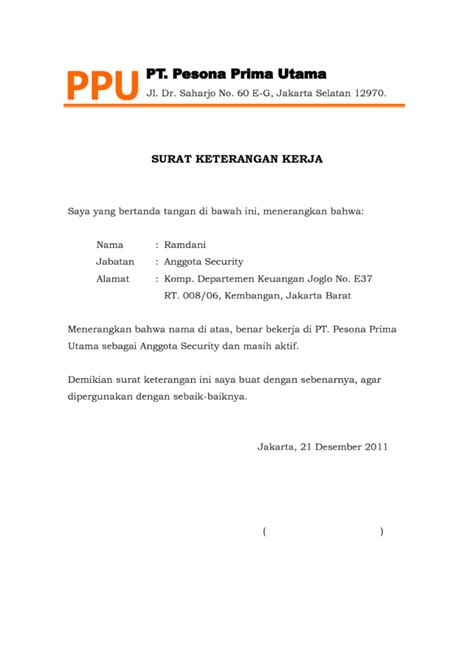 Contoh Surat Keterangan Kerja by 4 Contoh Surat Keterangan Kerja Lengkap File Doc