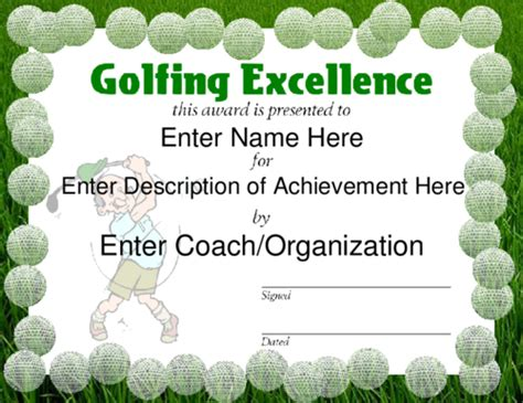 golf certificate template award certificate templates