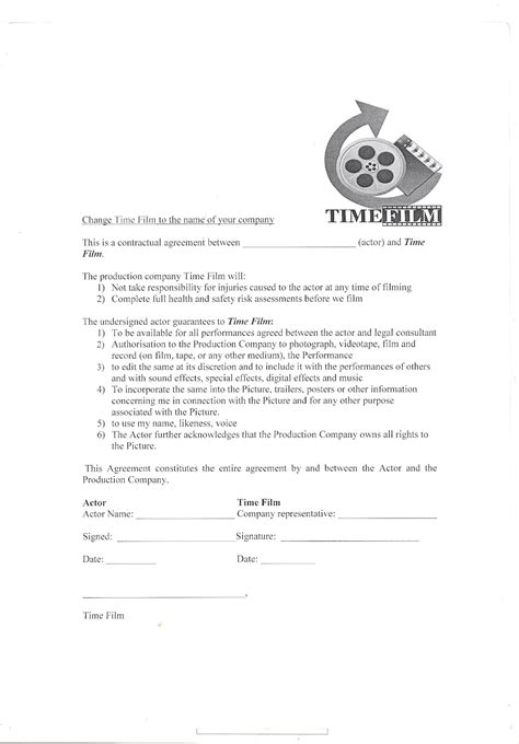 acting contract template a2 media production actors contract