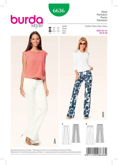 pattern sewing burda burda 6636 misses pants