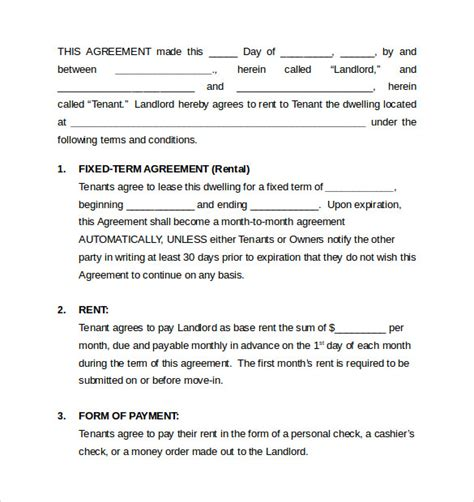 house rental agreement sle monthly rental agreement 6 documents in word pdf