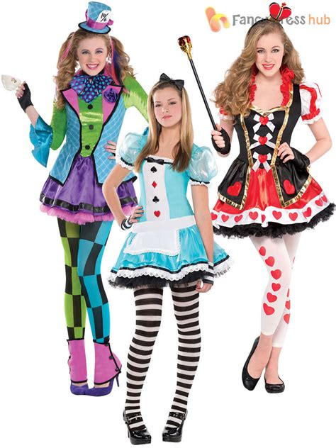 book themed clothing uk girls alice mad hatter queen of hearts costume teen book