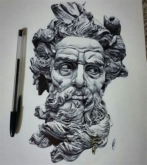 tattoo with bic pen poseidon is all done finally done by black bic pen hope
