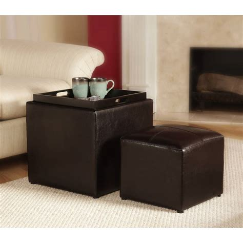 leather cube ottoman with tray target 3 piece sheridan faux leather storage ottoman with