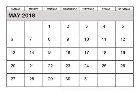 printable calendar for may 2018 printable may 2018 calendar pdf printable templates
