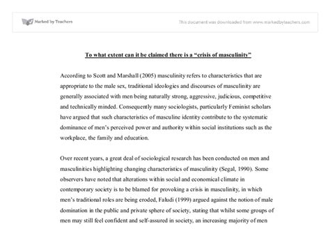 Masculinity In Crisis Essay by Masculinity In Crisis Social Studies Marked By Teachers