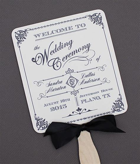 diy ornate vintage paddle fan wedding program template