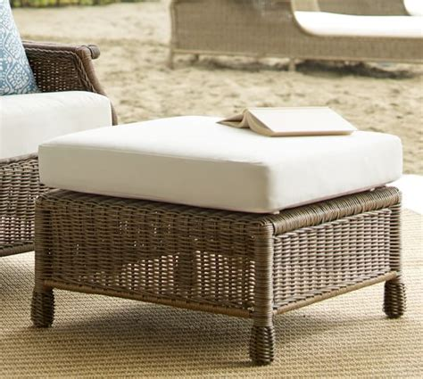 All Weather Wicker Ottoman Saybrook All Weather Wicker Wingback Armchair Ottoman Pottery Barn