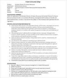 human resources description template human resources assistant description 9 free word