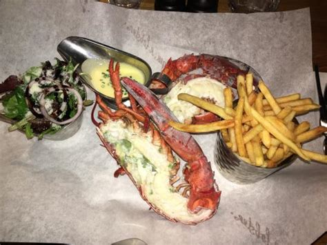 Burger And Lobster Gift Card Uk - boiled lobster with fries a small salad and hollandaise sauce picture of burger