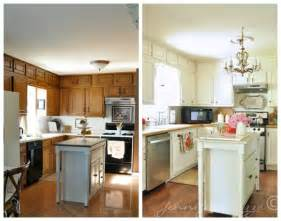 kitchen oak cabinets painted white with butcher block