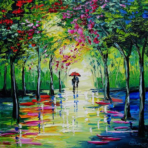 spring paint spring painting couple walking with umbrella impressionism