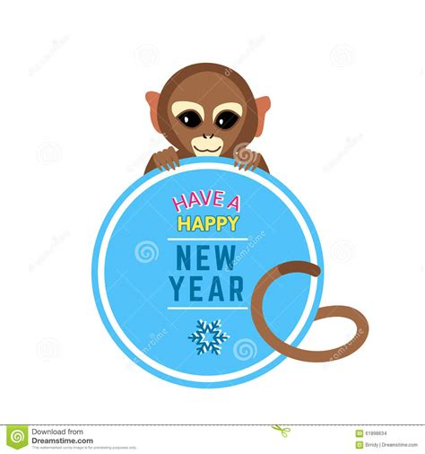new year monkey card template monkey with new year wishes card stock vector
