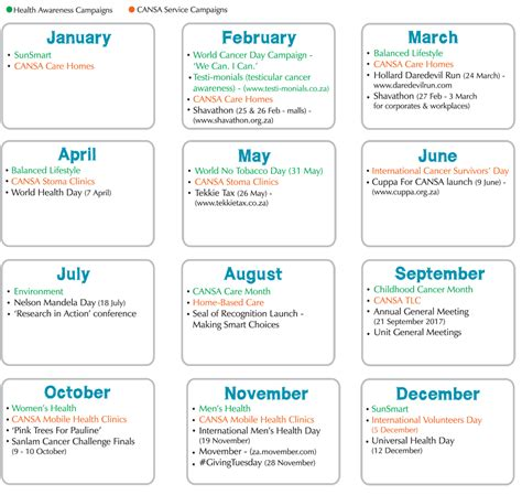Cancer Calendar 187 Cansa 2017 Calendar Cansa The Cancer Association Of