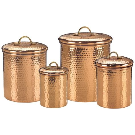 copper canisters kitchen old dutch copper canister set decor hammered 843