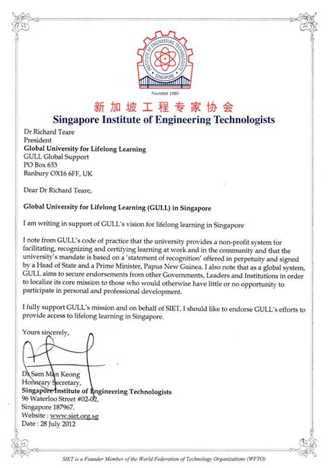 Offer Letter Singapore Gull Endorsements Institutions Singapore Institute Of Engineering Technologists
