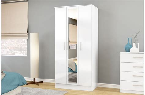 White Gloss Mirrored Wardrobes by Lynx 3 Door White Gloss Mirrored Wardrobe Free Delivery