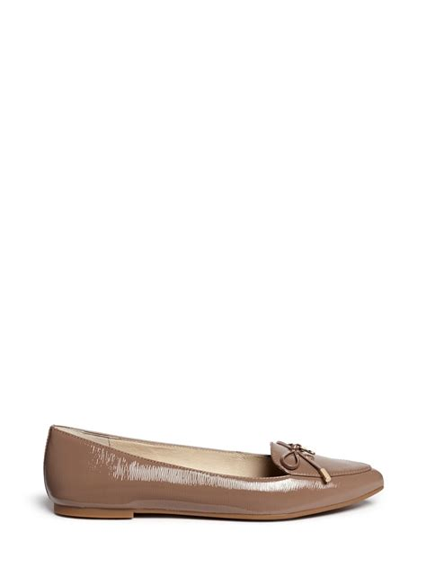patent leather flats michael kors nancy bow patent leather ballet flats in brown lyst