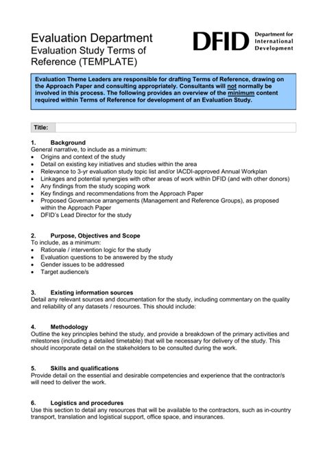 format tor generous terms of reference template ideas exle
