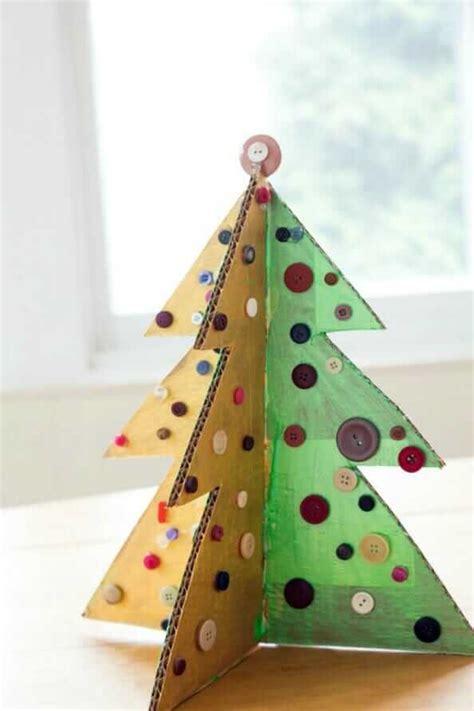 christmas tree craft  cardboard  buttons