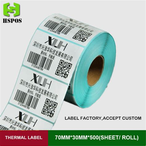Label Sticker Barcode Thermal 50x25 1 1 Line 1000 Pcs thermal label 70mmx30mm 500pcs one roll can be custom logo self adhesive printer paper white