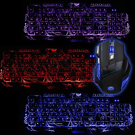 colored gaming multi colored gaming backligh keyboard and mouse set led