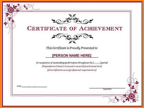 certificates of achievement free templates 8 certificate template free sle of