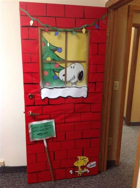 snoopy christmas door december and holidays boards and