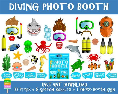 printable photo booth props under the sea printable diving photo booth props photo booth sign diving