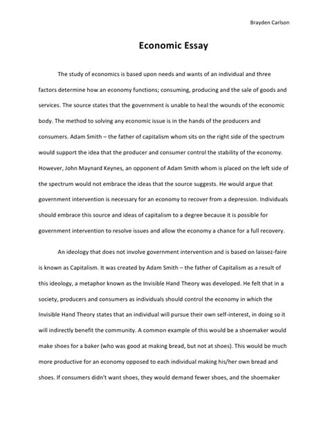 Economics Essay economic essay