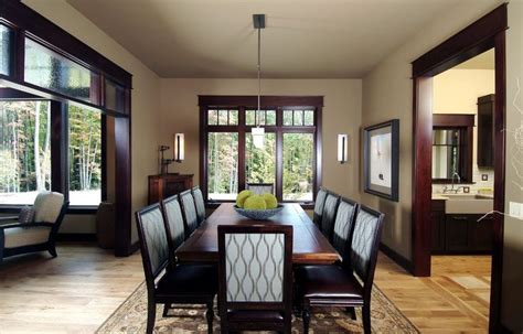 Dark Wood Table Light Walls Dark Trim Dining Room Traditional With Dining