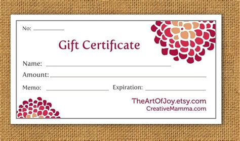 printable gift certificates for stores items similar to printable customizable gift certificate