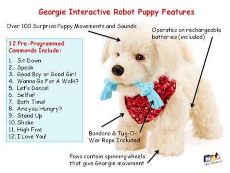 georgie puppy adorable georgie white plush interactive robot puppy robotic toys
