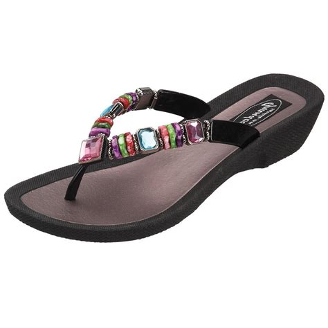 grandco sandals grandco sandals rainbow 26245e jeweled and beaded sandals