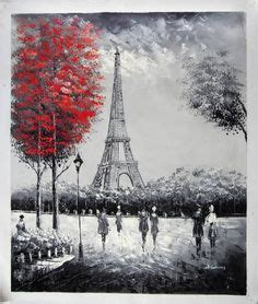 imagenes gratis canvas red umbrella with eiffel tower black and white print on