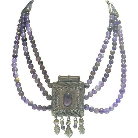 casing bead vintage revival lavender glass bead metal casing