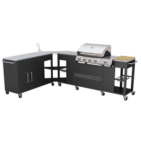 ic lavello 2 vidaxl barbecue esterno cucina gas completa acciaio 4