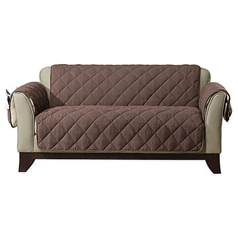couch covers bed bath and beyond sure fit 174 reversible flannel and sherpa furniture cover