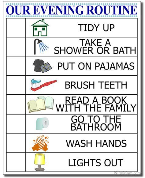kid s evening routine free printable checklist