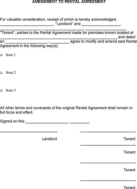 lease amendment form amendment to rental agreement for free tidyform